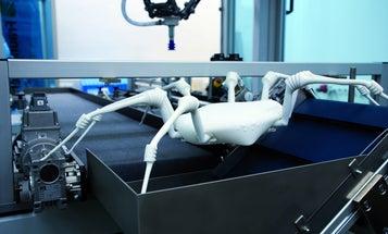 Albino Robot Spider Clambers Through Dangerous Spots on 8 Legs