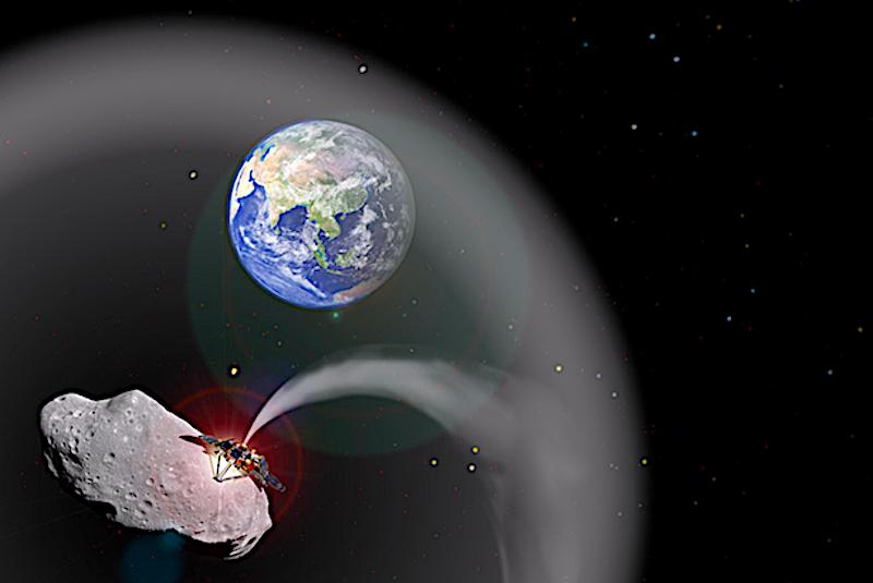 Illustration of asteroid dust blocking the sun's light.