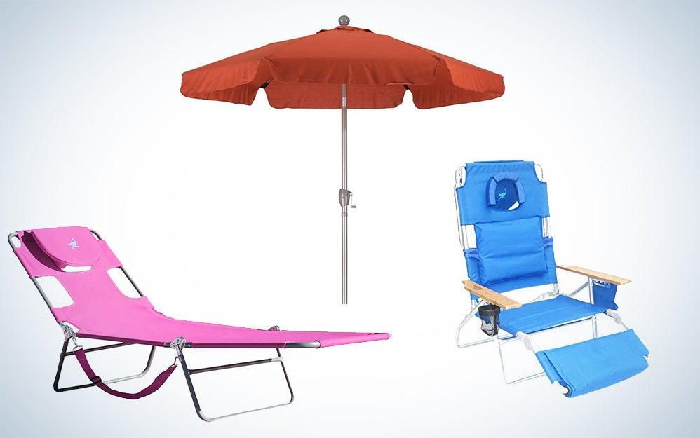 Ostrich beach chairs and umbrellas