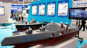 Model of the China robot warship D3000 on display