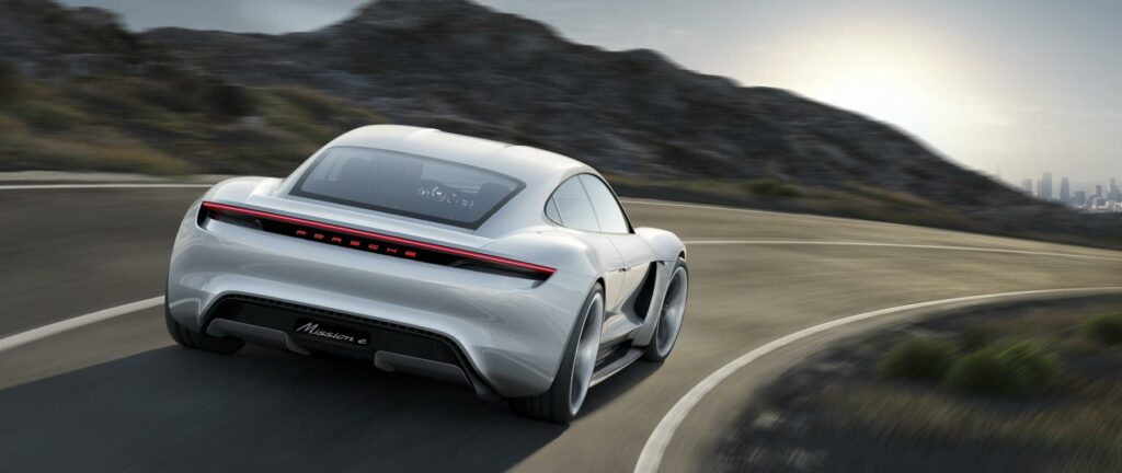 Porsche Mission E concept rear driving shot