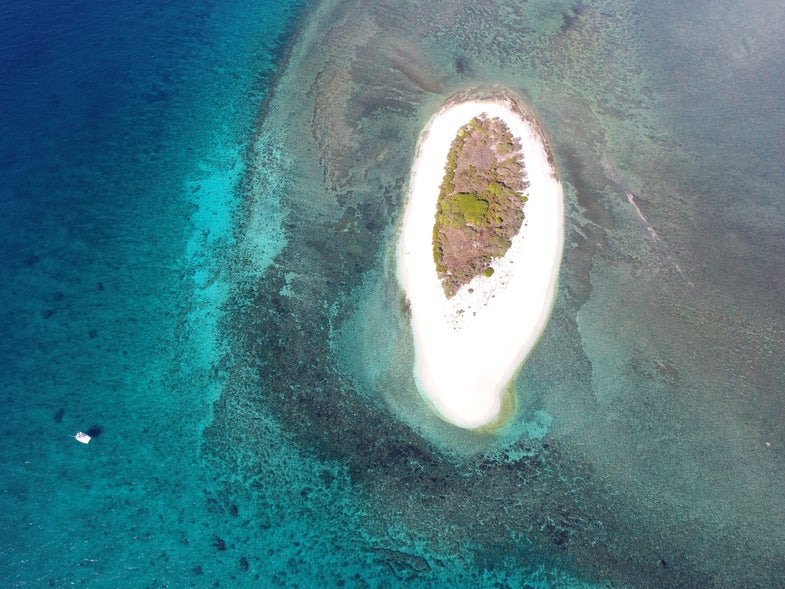 A small island in the ocean.