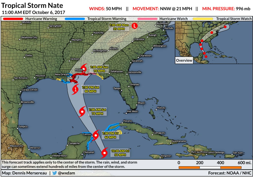 Tropical Storm Nate at 11 AM on October 6, 2017