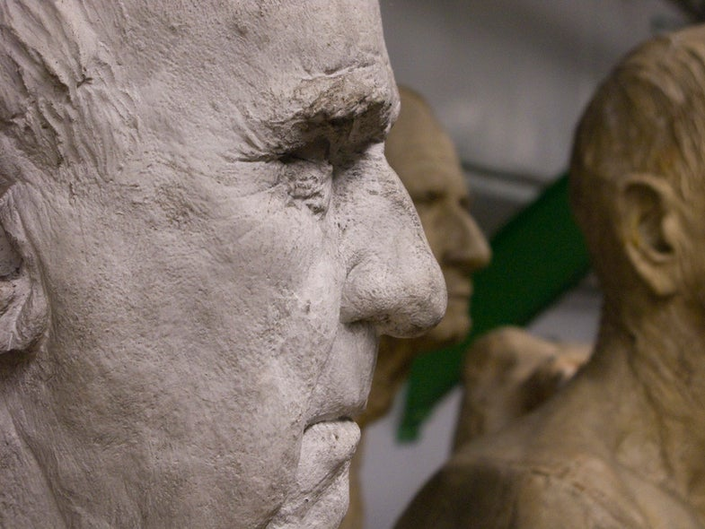 The nose of a sculpture