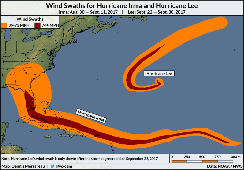 A map of the wind swaths for Hurricane Irma and Hurricane Lee.
