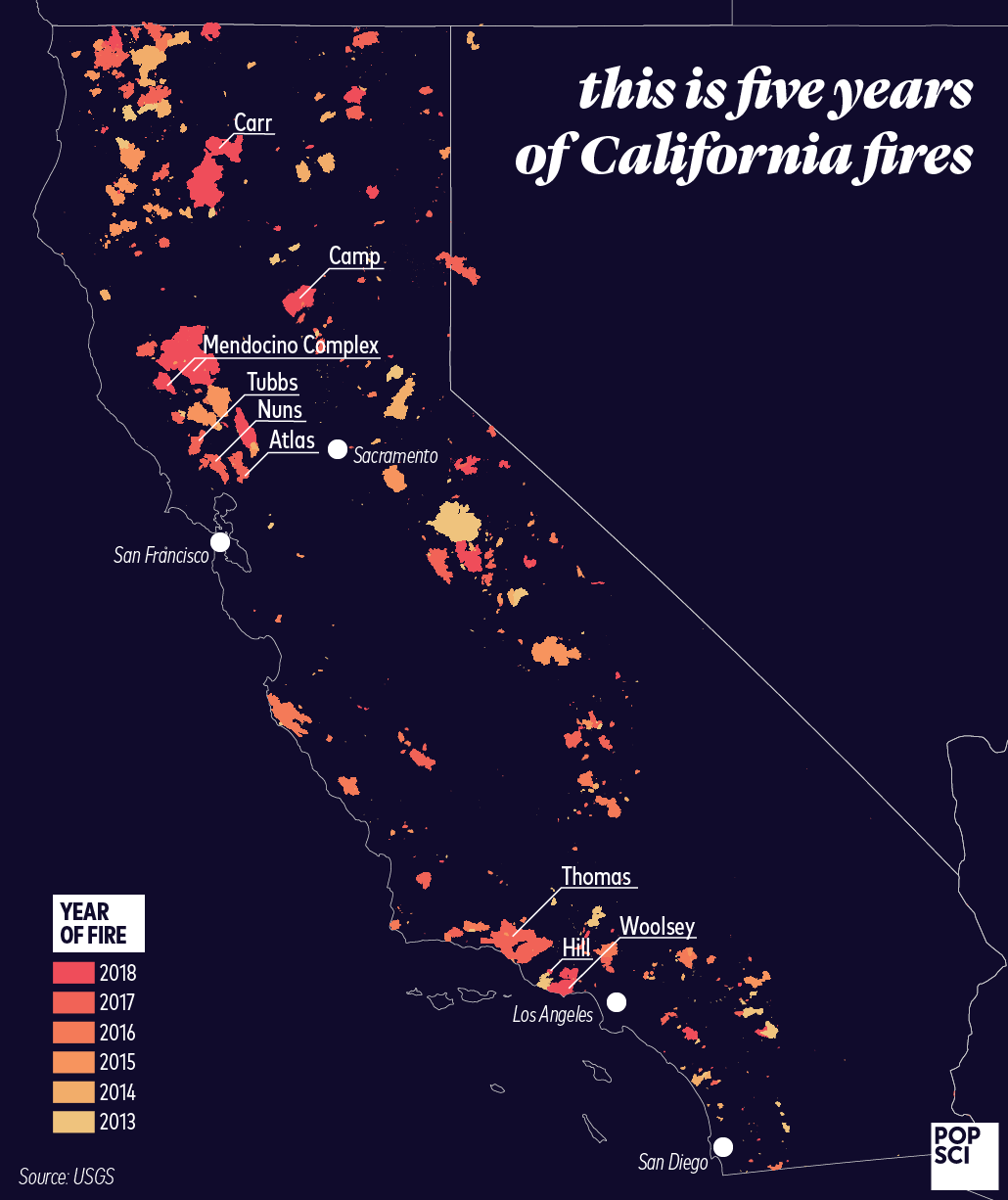 See how much of California has burned in the last five years