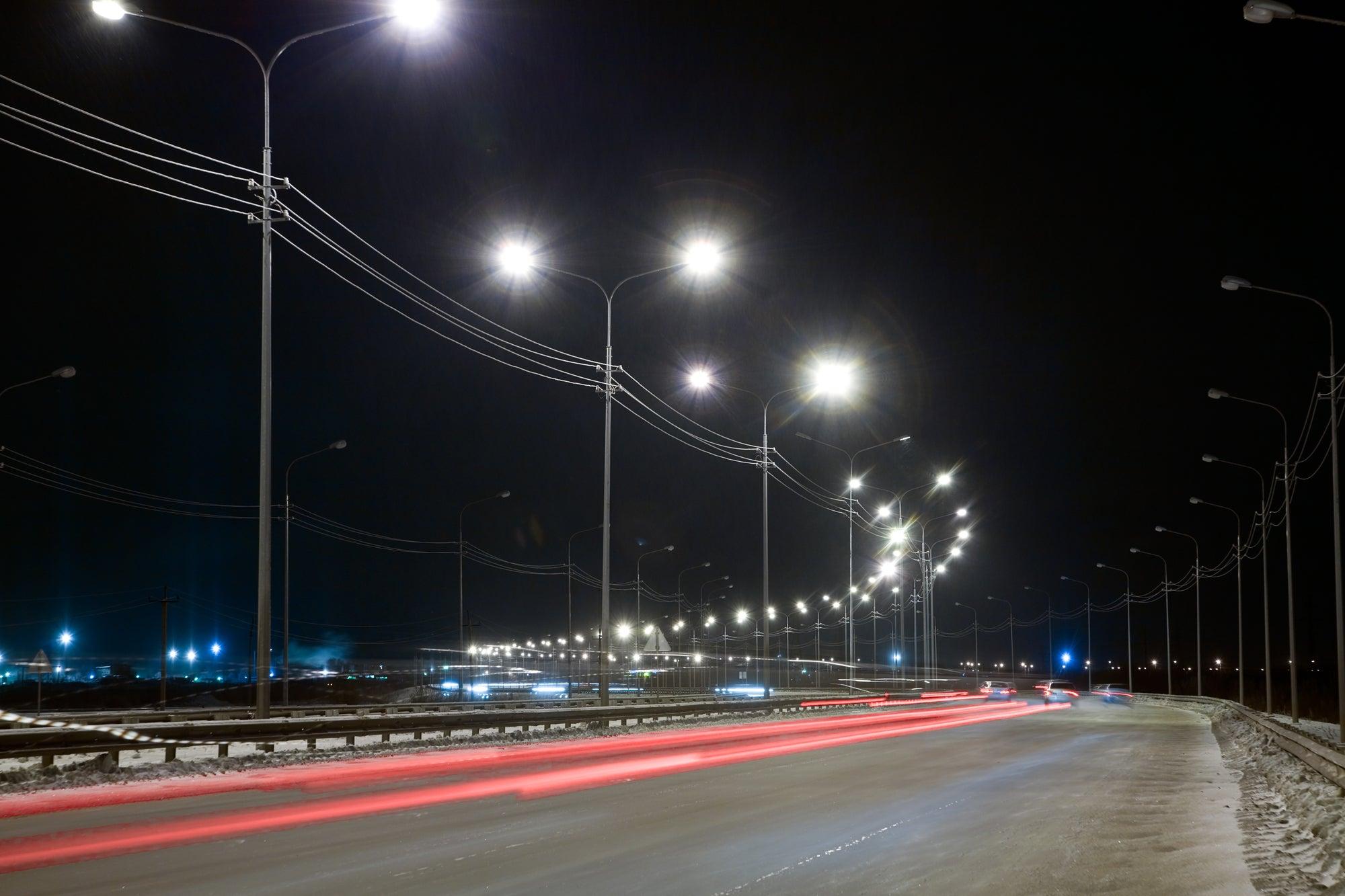 a road at night