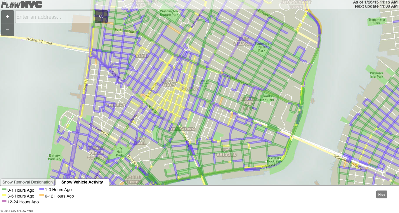 NYC Live Plow tracking