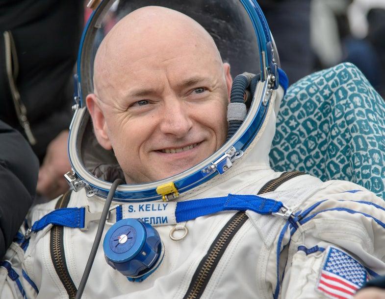 Commander Scott Kelly in his space suit