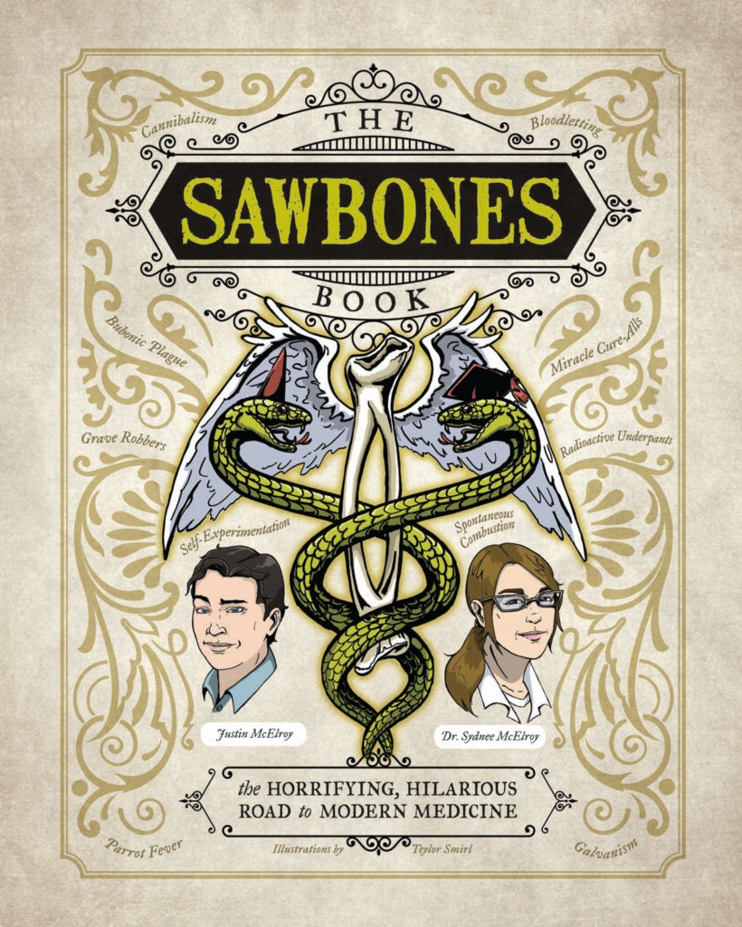 book cover with large illustrated caduceus