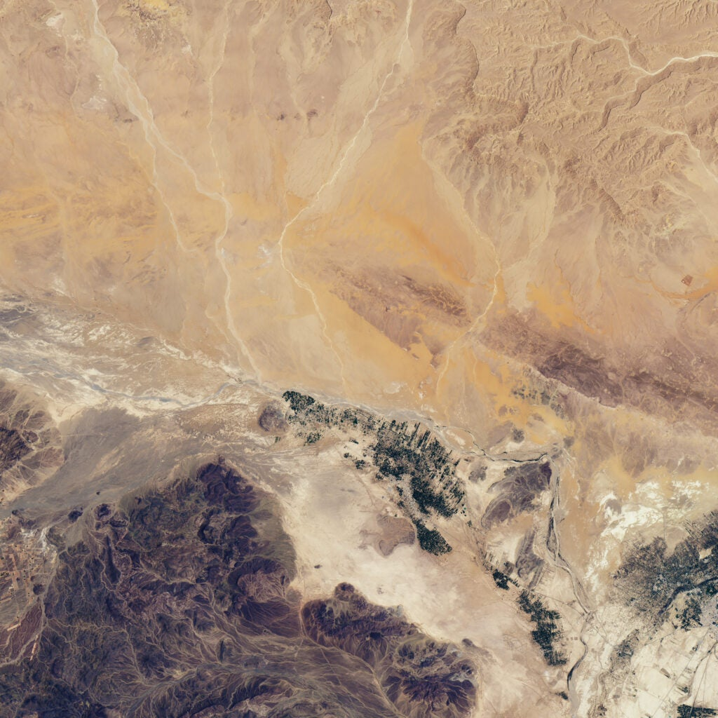 A satellite image shows ancient water ways dug in the Moroccan desert.