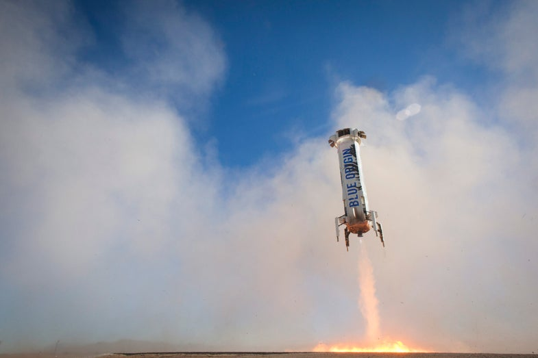 new shepard rocket coming in for a landing