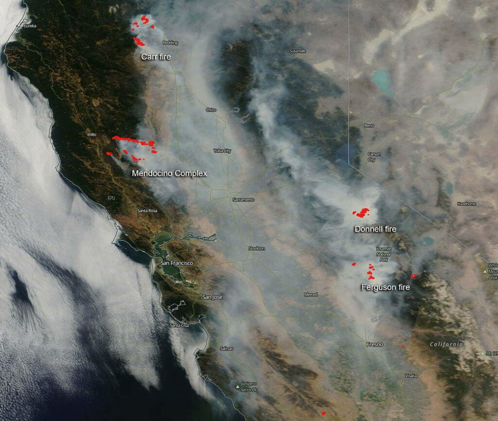 a map of california showing fires