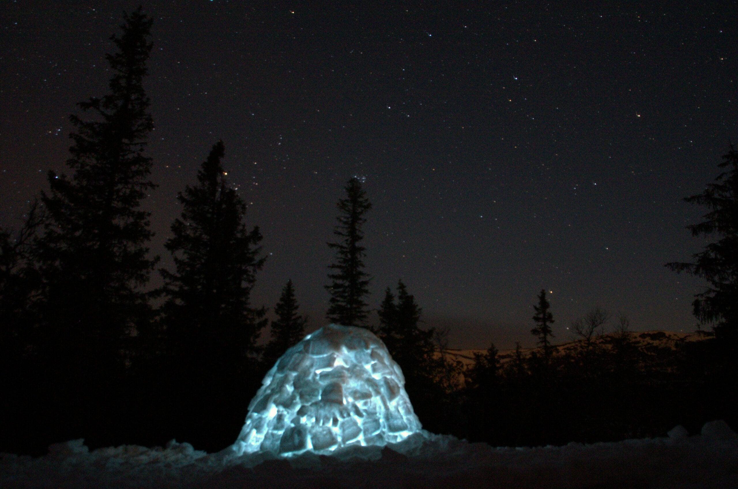 A lit-up igloo under a starry night sky
