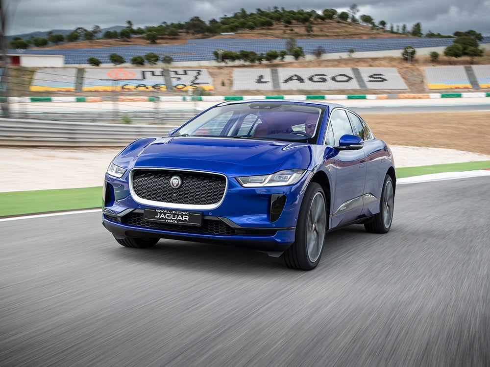 Jaguar I-Pace electric car on the track