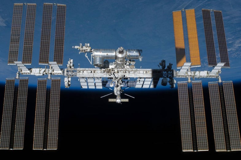The Final ISS in space with the Earth in the background