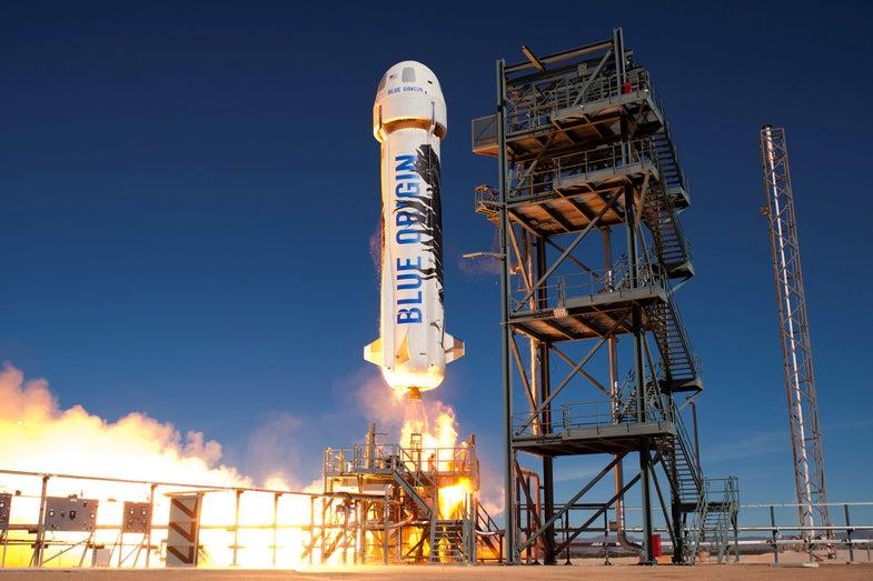 Blue Origin Shepard Rocket Launching from a launching pad