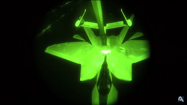 Watch F-22 Raptors Refuel At Night