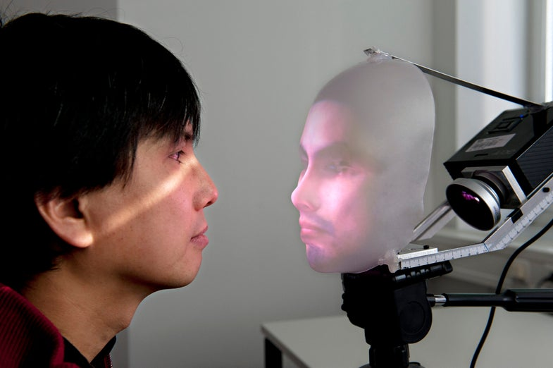 Mask-Bot Displays 3-D Human Faces With a Plastic Superstructure