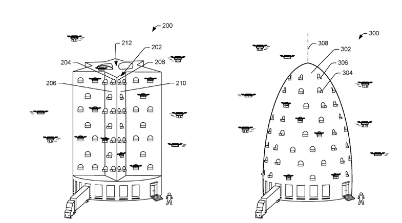 Two Amazon differently shaped drone towers
