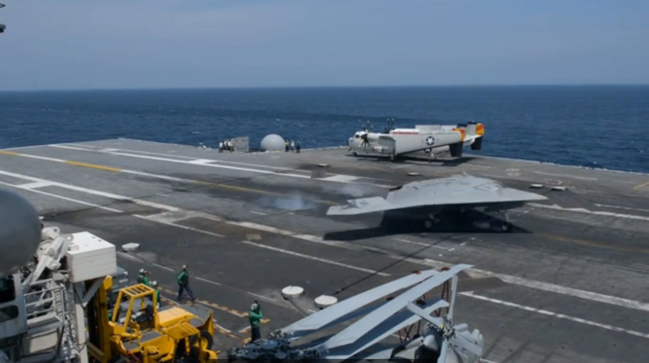 The X-47B Autonomous Warplane Lands On Aircraft Carrier