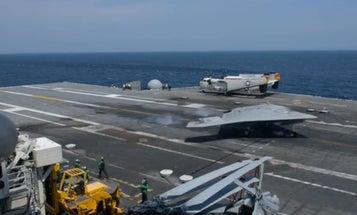 The X-47B Autonomous Warplane Lands On Aircraft Carrier
