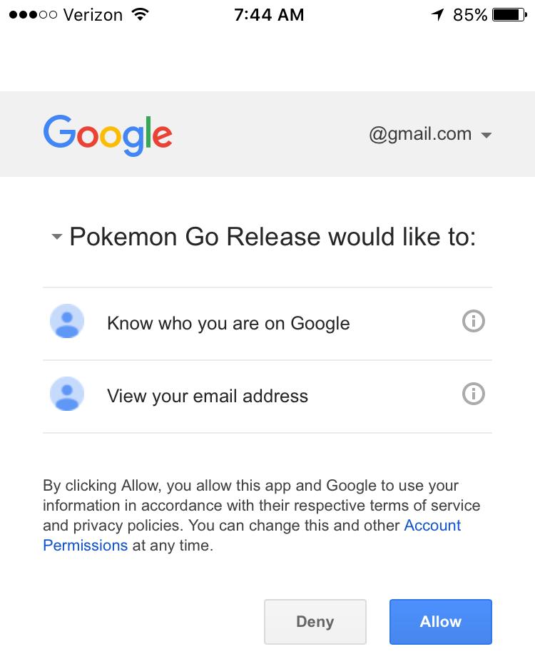 Pokémon Go privacy google