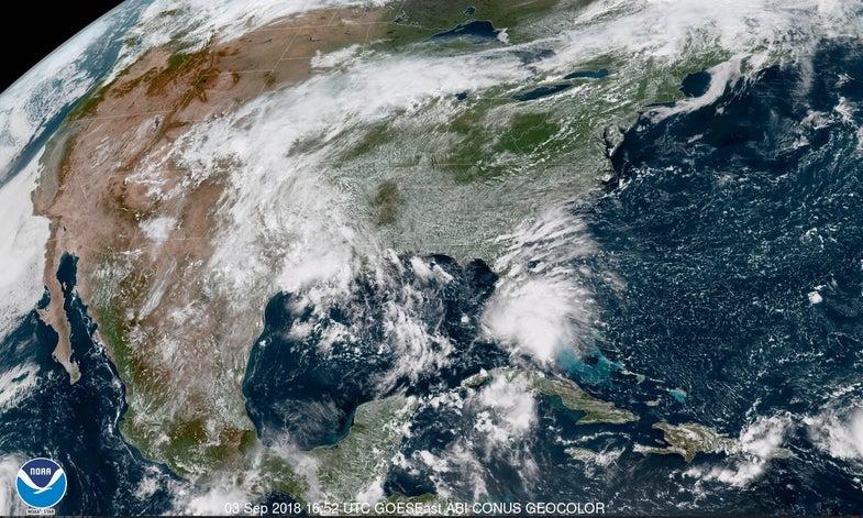 a satellite image of tropical storm gordon