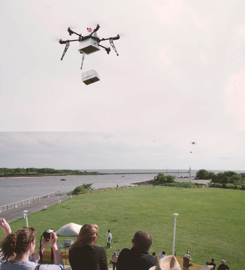 Drone Delivers Package To Shore