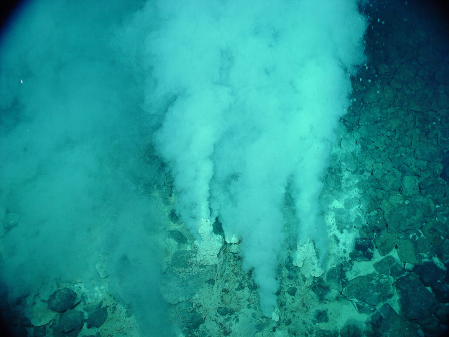 vents of white bubbles rising up from ocean floor