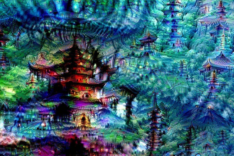The produce of an artificial neural network being asked to amplify and pull patterns out of white noise.