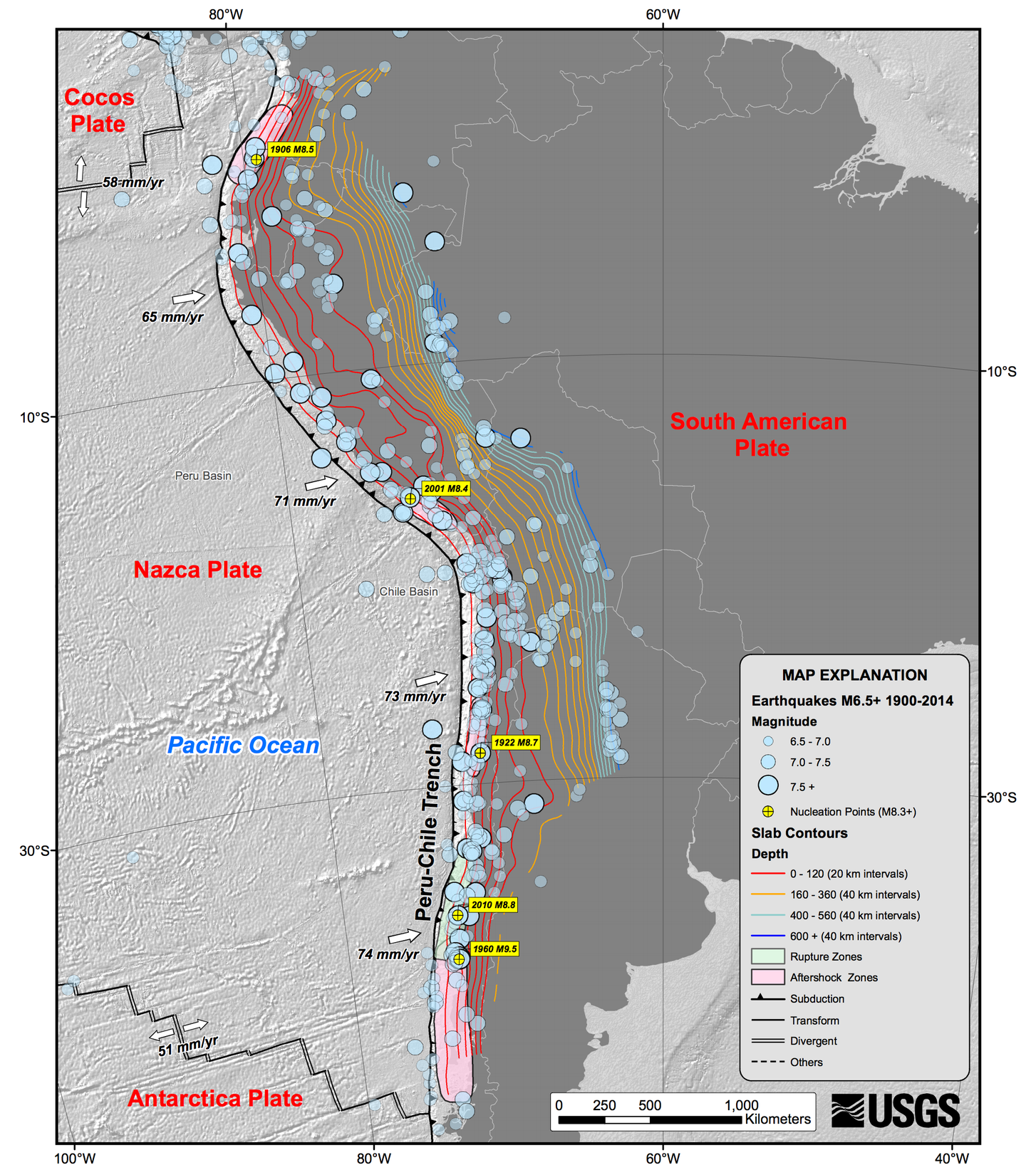 Map of Chile Earthquakes