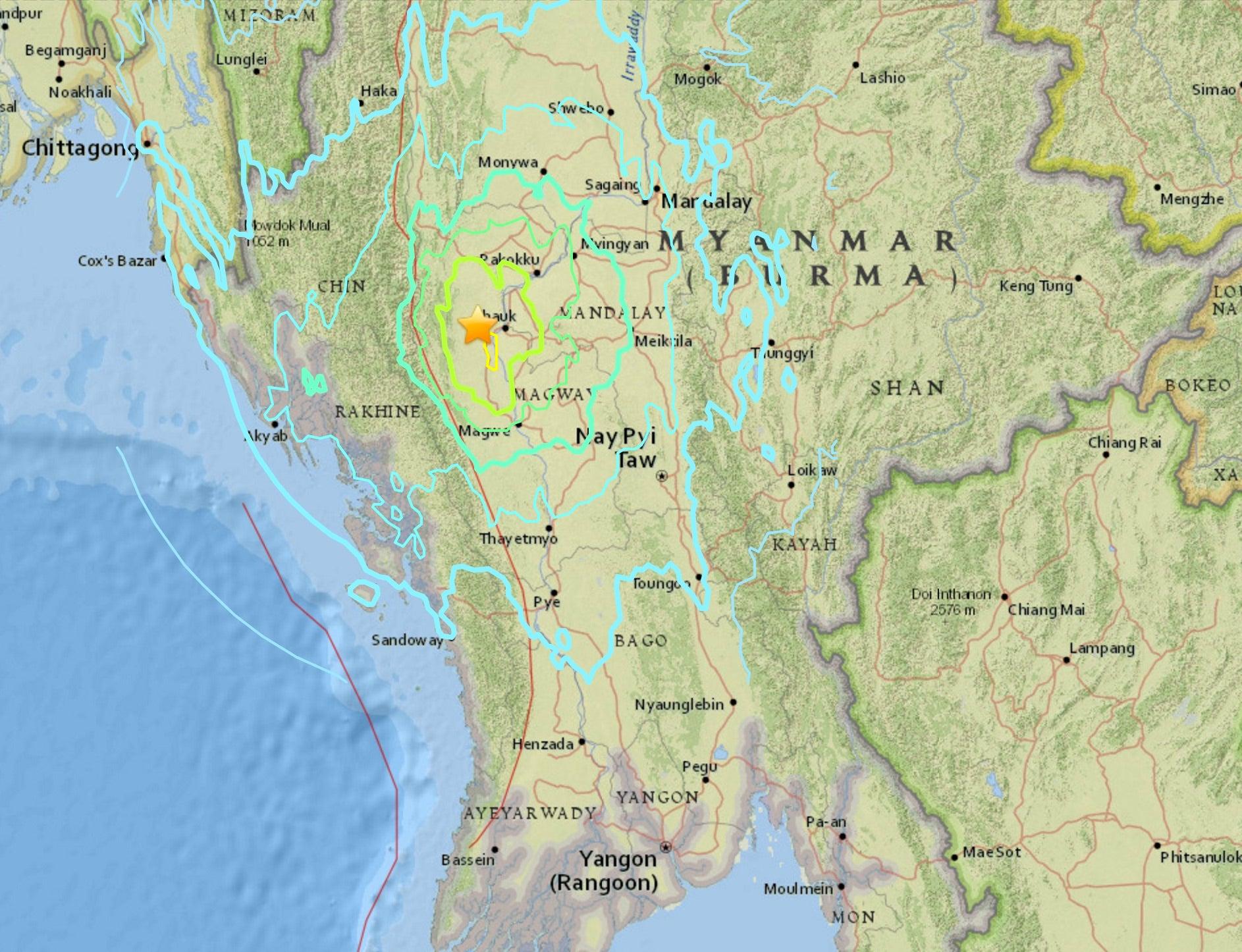 Strong 6.8 Magnitude Earthquake Strikes Myanmar