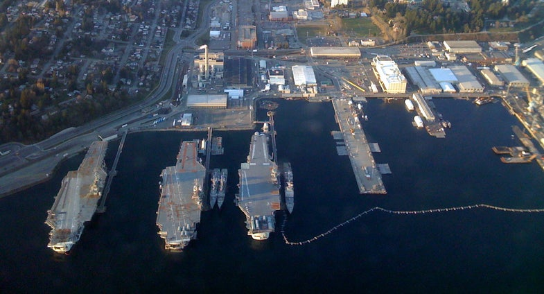 Aircraft Carriers Docked at the Bremerton Shipyard