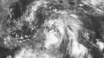 A visible satellite image of Tropical Storm Nate in the Caribbean Sea on October 6, 2017.