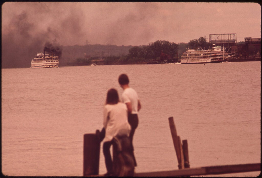 smoking steamboat on ohio river