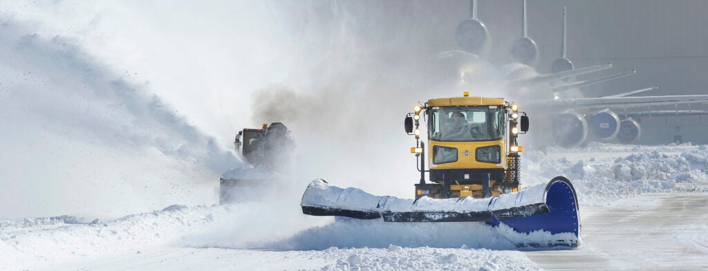 A plow clearing snow.
