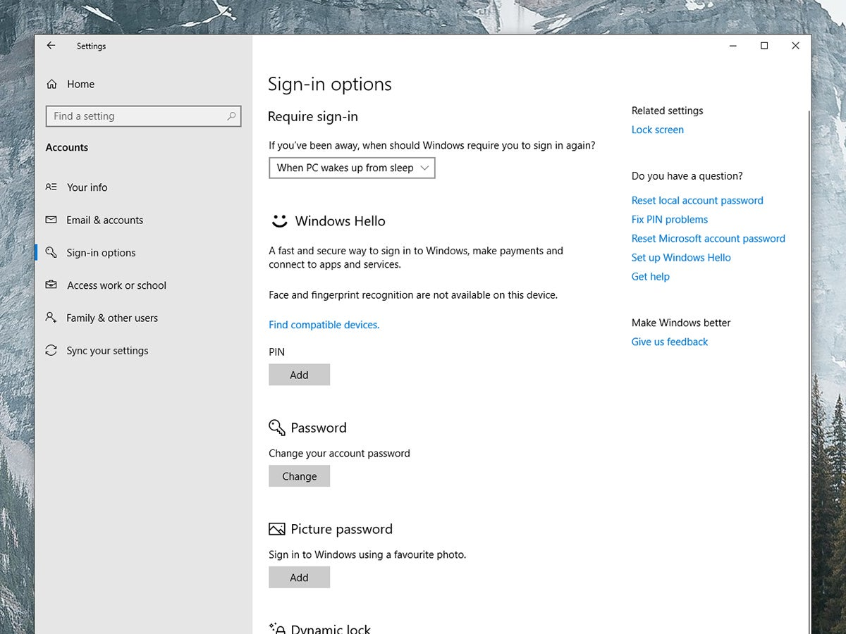 The Windows settings screen that allows you to protect your lock screen.