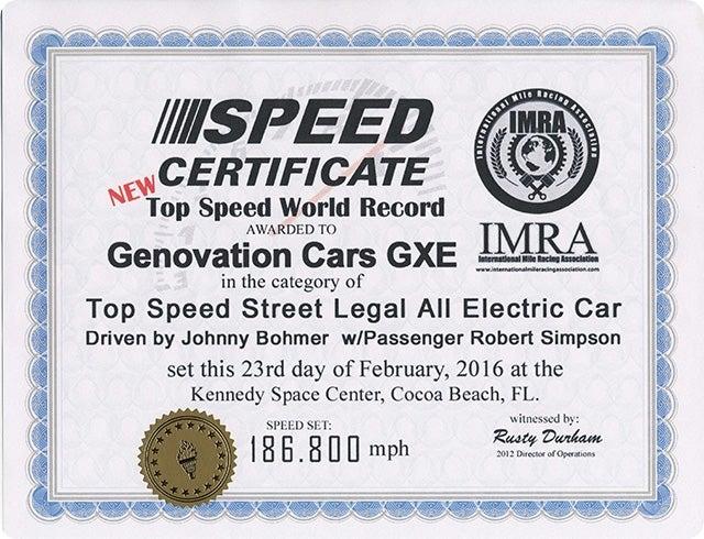 IMRA Speed Record Certificate