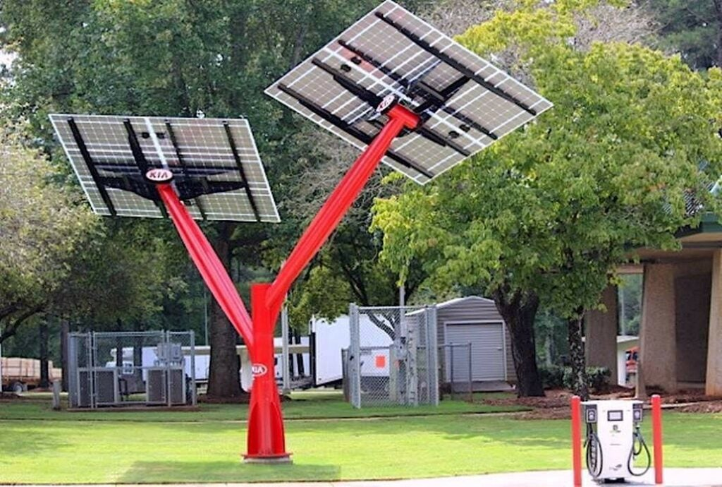 two branching solar panels