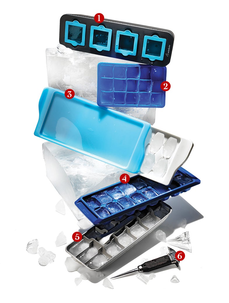 Ice cube trays and an ice pick