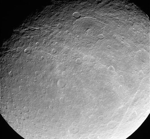 In Flyby of Saturn's Moon Rhea, Cassini Probe Gets First Whiff of Non-Earthly Oxygen
