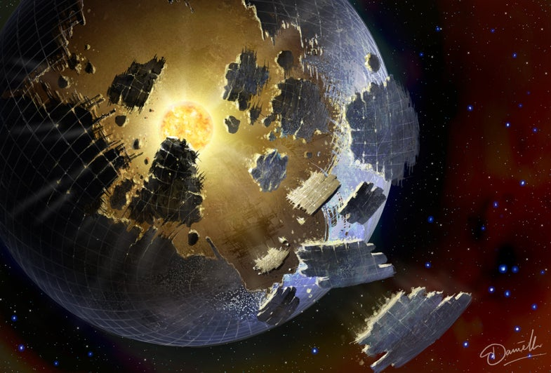 Illustration of a Dyson sphere around a star