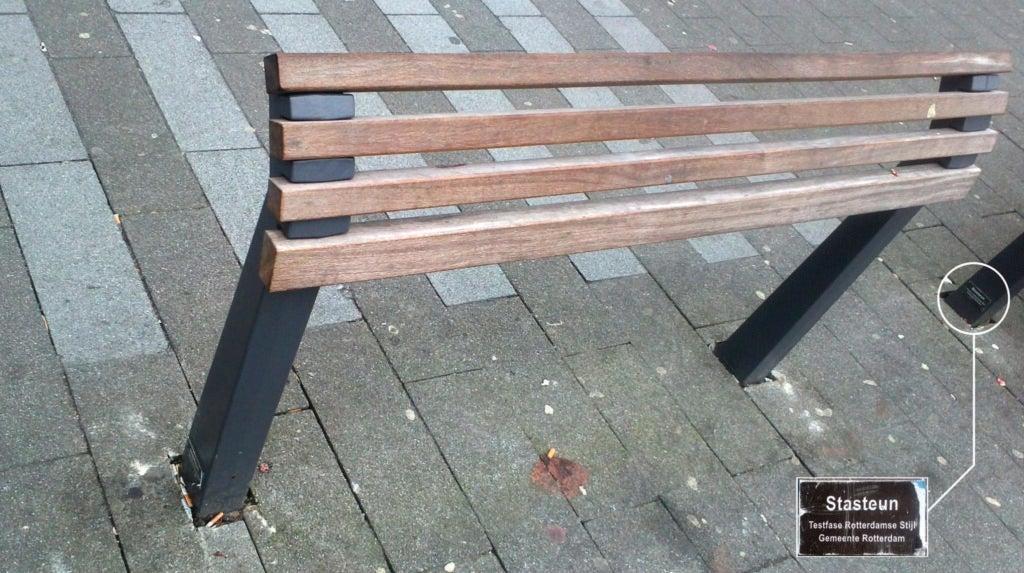 An anti-sit bench in Rotterdam.