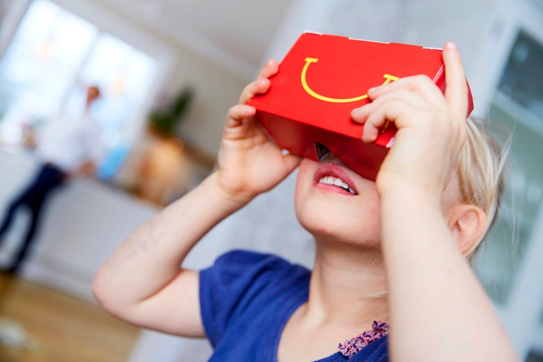 McDonalds 'Happy Goggles' VR Happy Meal box promo image