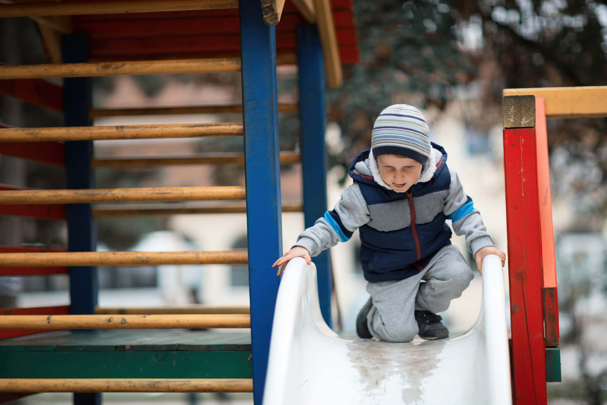 It's actually really dangerous to go down a slide with your kid