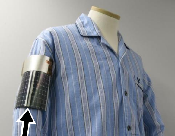 photo of a mannequin wearing a shirt and the prototype electronic armband