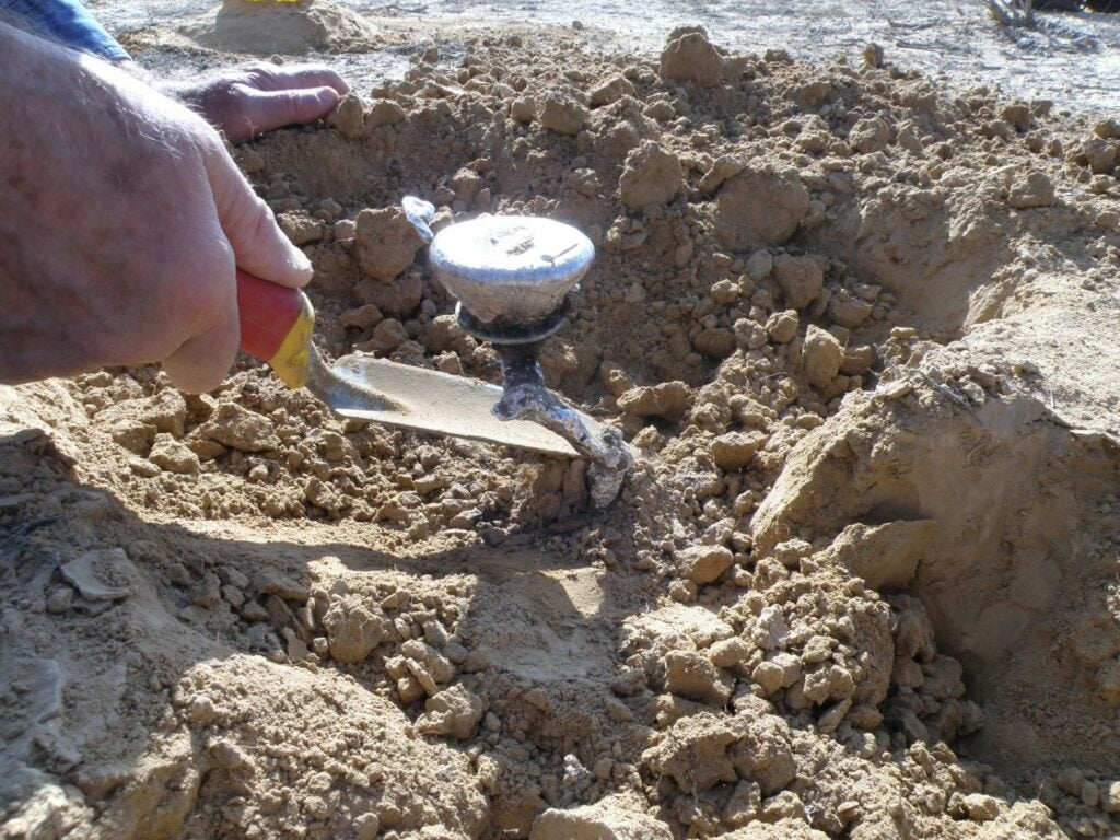 Researchers dig out a metal cast of a burrow made by a scorpion in the Negev desert in Israel.