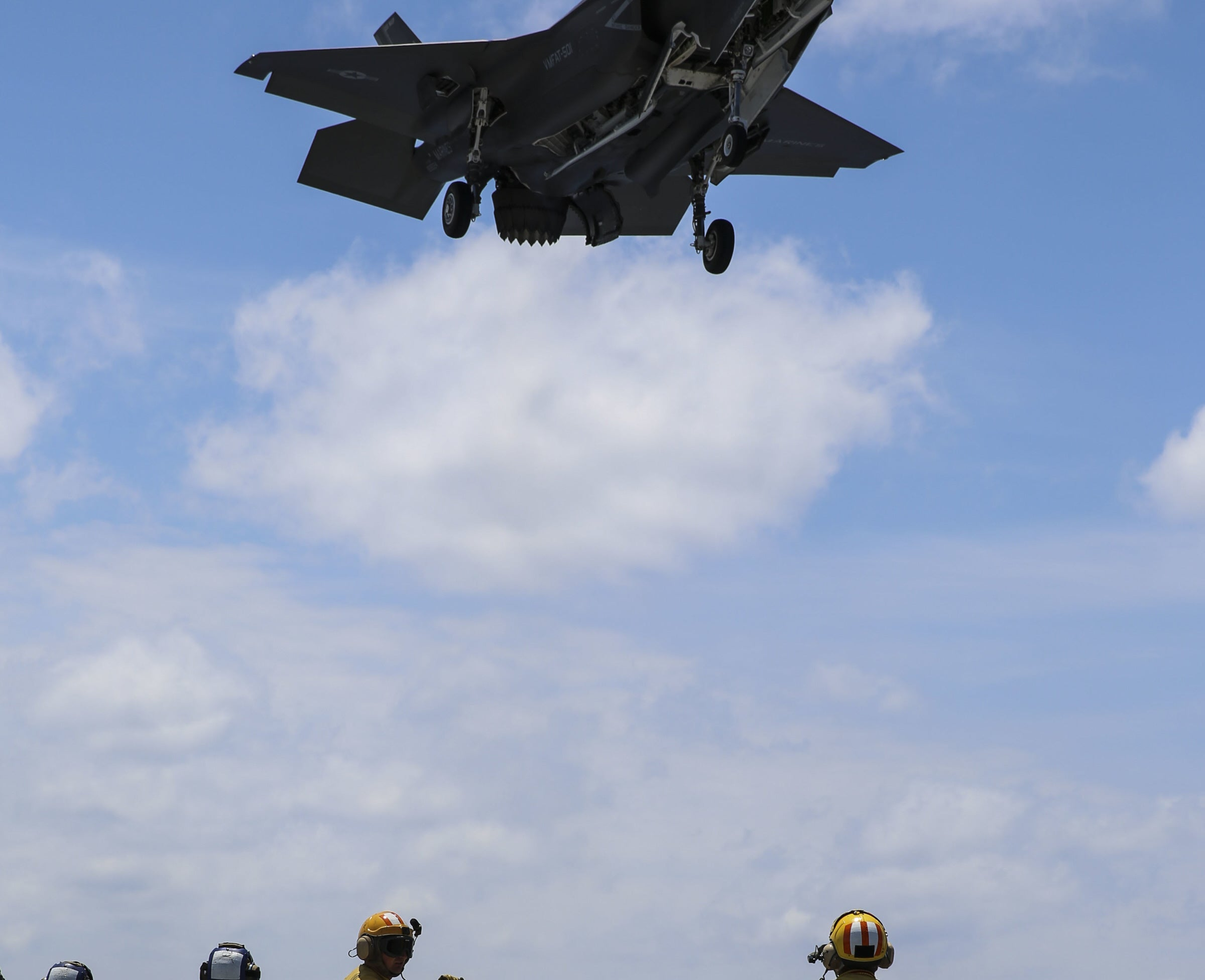 Watch The F-35B Hover To A Landing On A Ship