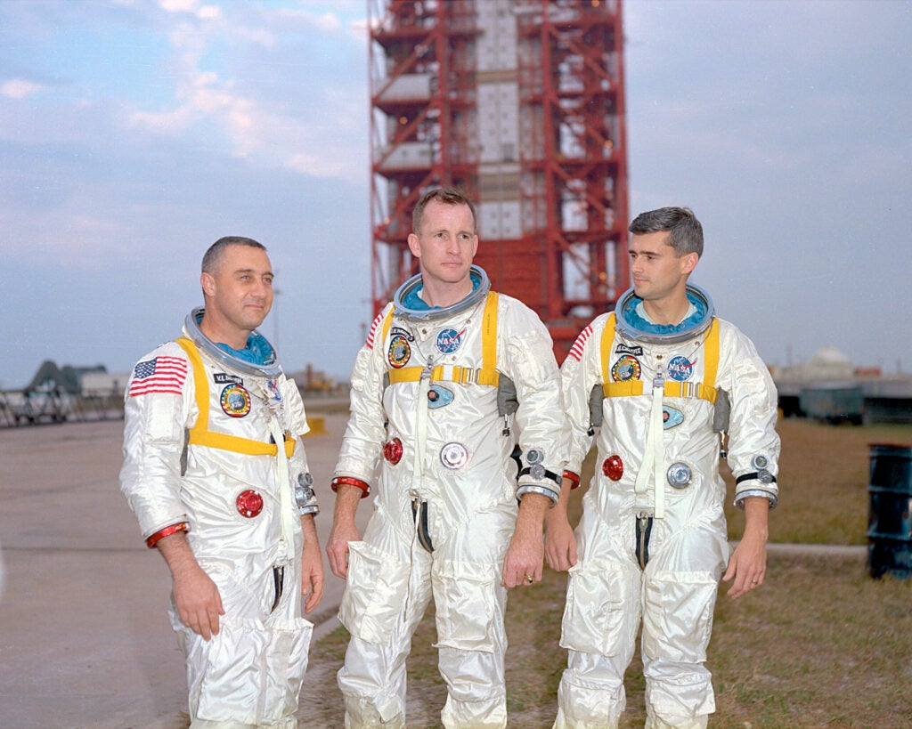 Astronauts Gus Grissom, Ed White and Roger Chaffee.